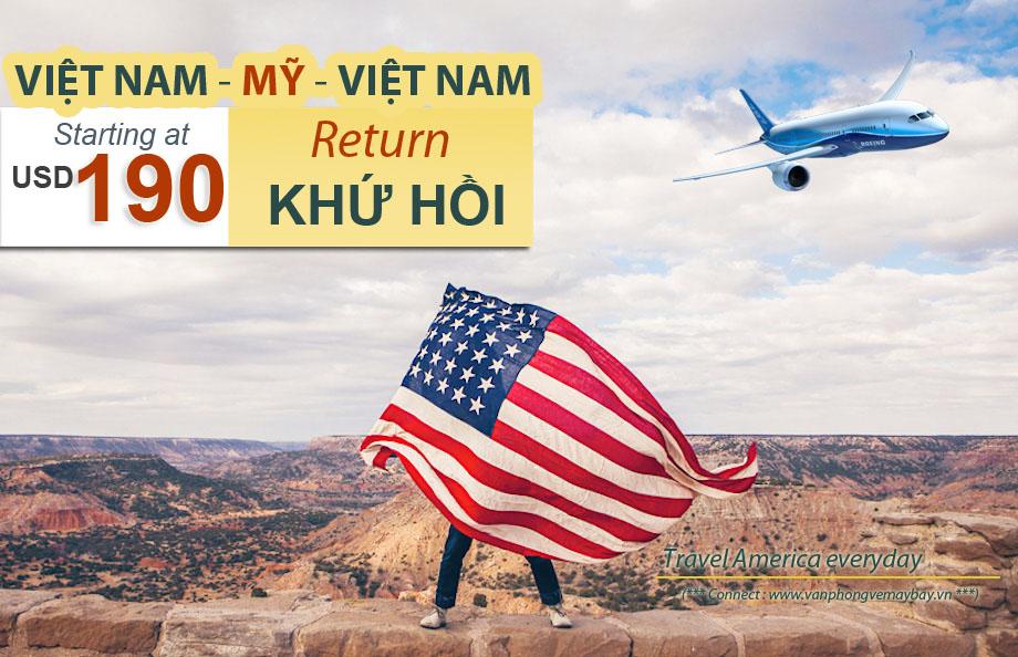 Vé máy bay khú hồi đi Hoa Kỳ giá rẻ