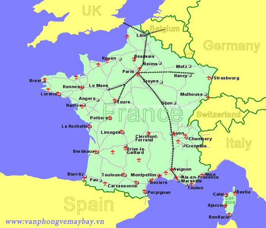 Danh sách các sân bay nước pháp (France)