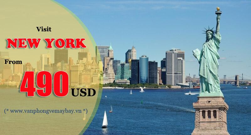 Vé máy bay đi New York(Mỹ) chỉ từ 490 USD
